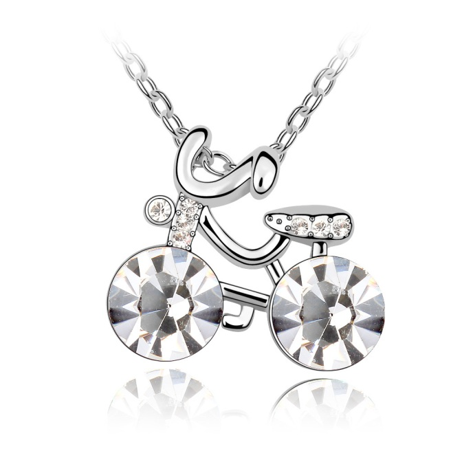 Envious Gems Cute Girl's Bicycle Clear Swarovski Elements Crystal Pendant Necklace