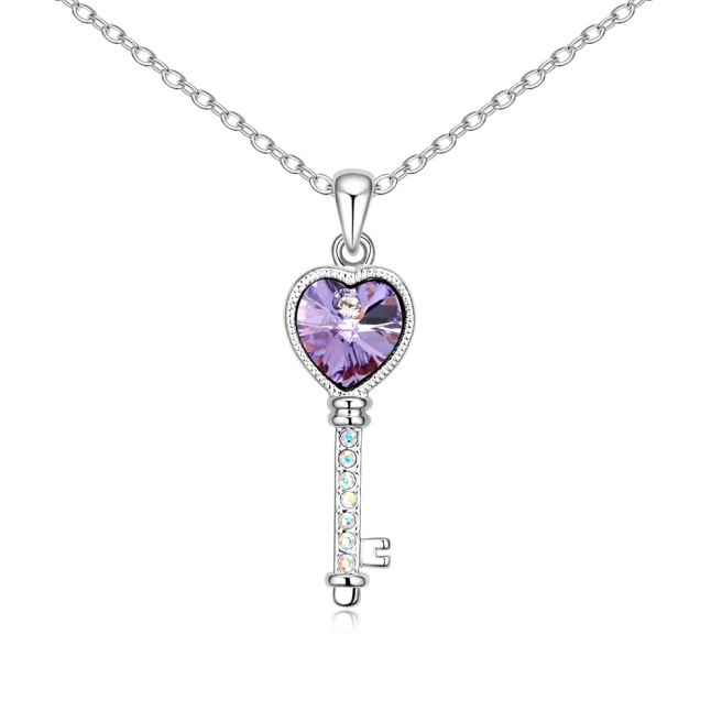 Envious Gems Lover's Heart Key Violet Swarovski Elements Crystal Pendant Necklace