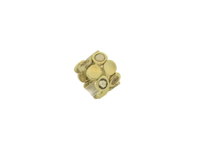 Envious Gems Amber Multi Crystal Disc Stretch Ring