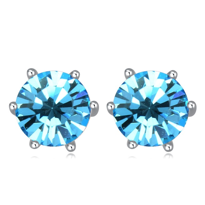 Envious Gems Aquamarine Swarovski Elements Crystal Round 7mm Stud Earrings