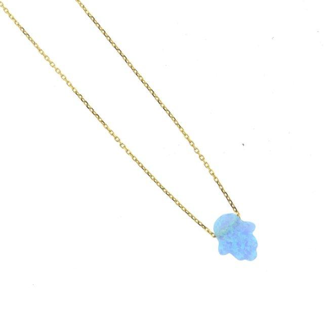 Envious Gems Blue Opal Hasma Gold Vermeil Necklace