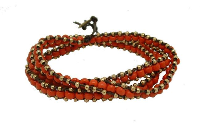 Envious Gems Celebrity Trendy Classic Beaded Wrap Leather Bracelet