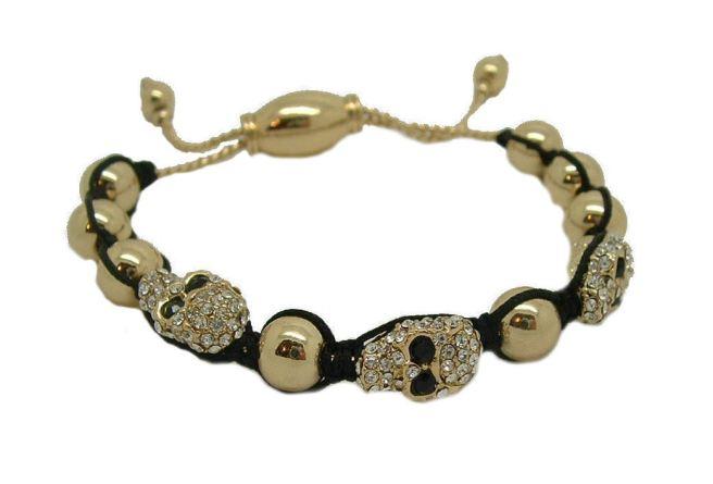 Envious Gems Celebrity Trendy CZ Skull Cord Bracelet