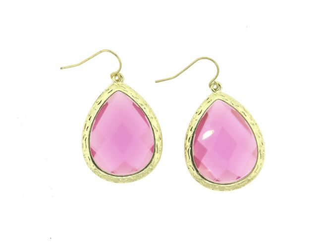Envious Gems Large Fuschia Acrylic Stone Teardrop Earrings