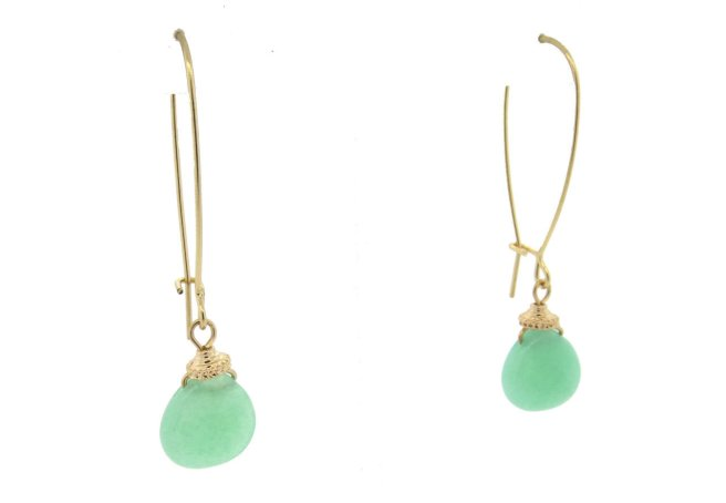 Envious Gems Light Green Gemstone Wire Hoop Earrings