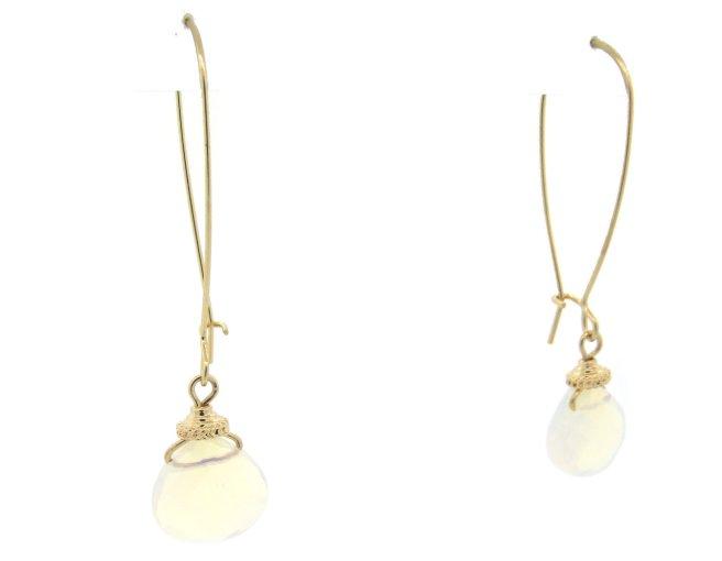 Envious Gems Moon Stone Wire Hoop Earrings