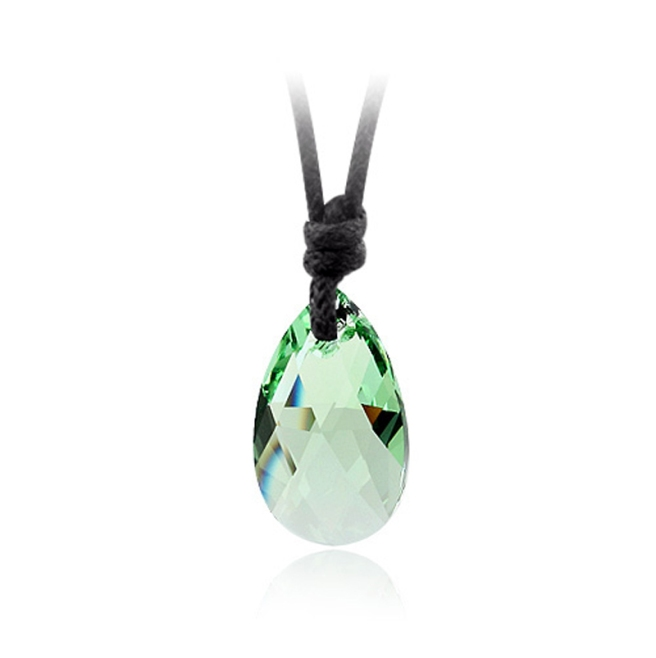 Peridot Tear Drop Swarovski Elements Crystal Pendant Rope Necklace