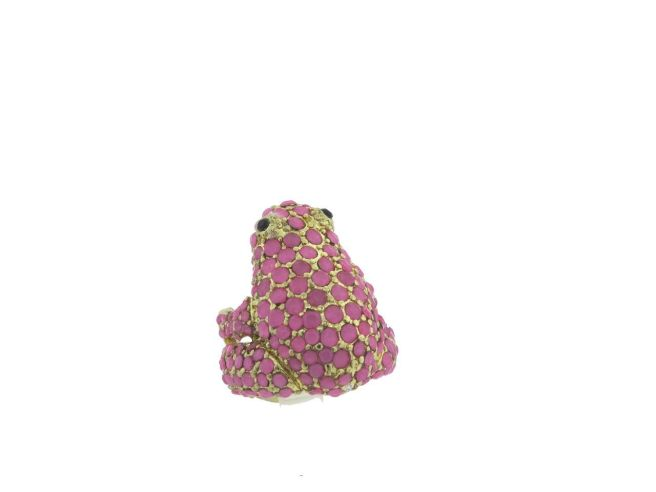 Envious Gems Pink Acrylic Stone Frog Stretch Ring