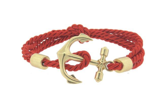 Envious Gems Red Anchor Rope Bracelet