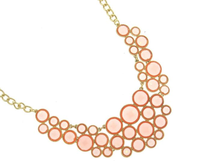 Envious Gems Sophia Pink Quartz Bubble Bib Necklace