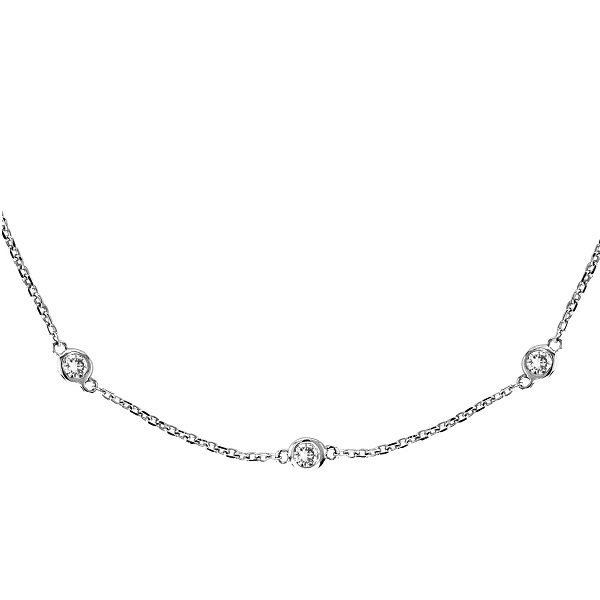 """Envious Gems Sterling Silver 18"""" Diamonds by The Yard Necklace"""