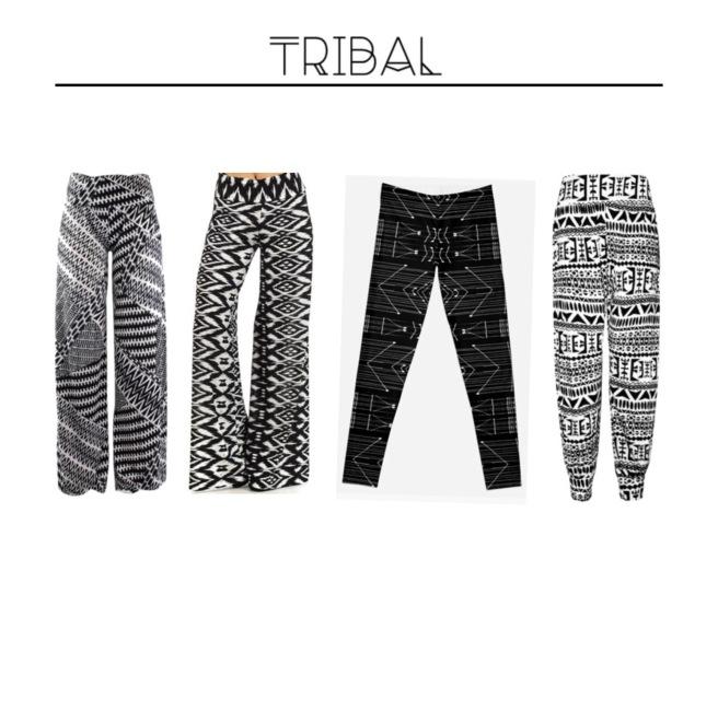 Envious Gems Summer Tribal Black White Pants 2016