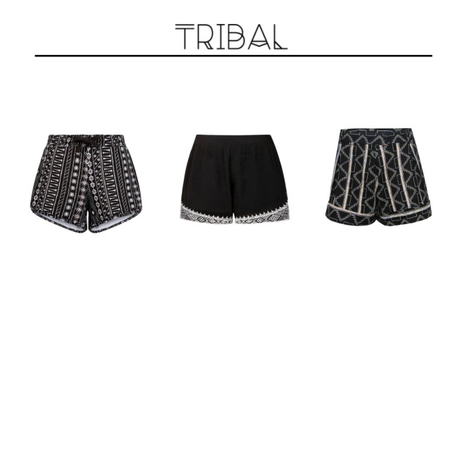 Envious Gems Summer Tribal Black White Shorts 2016