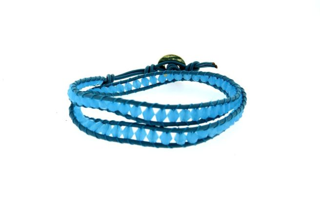 Envious Gems Trendy Blue bead Wrap Leather Bracelet
