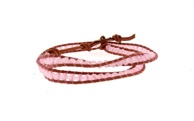 Envious Gems Trendy Pink bead Wrap Leather Bracelet
