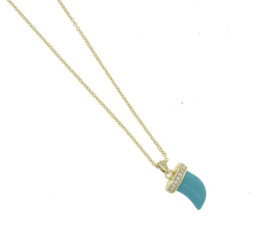 Envious Gems Turquoise Horn CZ Gold Vermeil Necklace