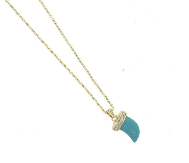 Envious Gems Turquoise Horn CZ Gold Vermeil Necklace