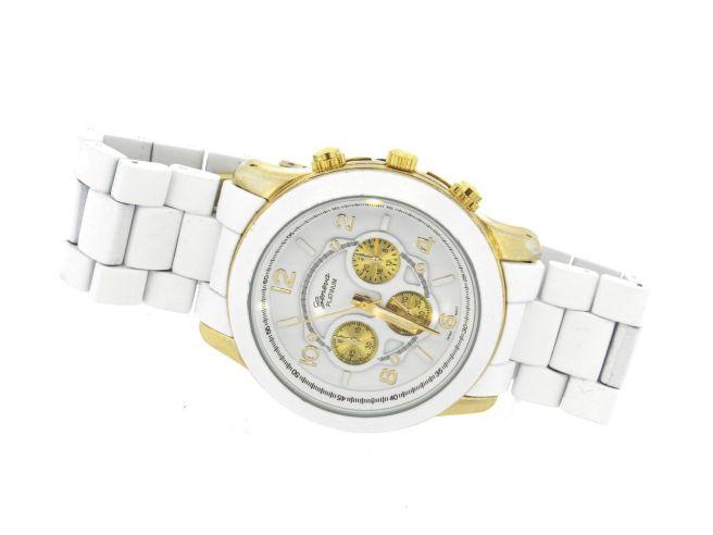 Envious Gems White Gold Geneva Platinum Chronograph Style Watch