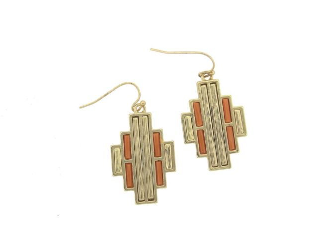 Envious Gems Art Deco Coral Gold Bar Design Earrings