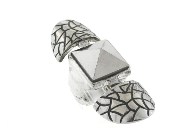 Envious Gems Bali Crystal Silver Tone Knuckle Stretch Ring
