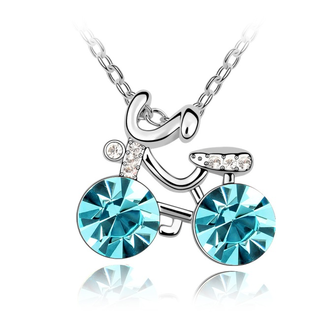 Envious Gems Cute Girl's Bicycle Aquamarine Swarovski Elements Crystal Pendant Necklace