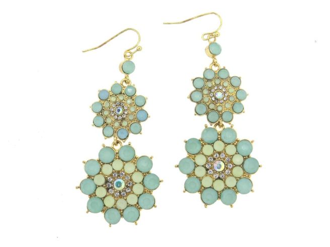 Envious Gems Double Tier Blue Green Multi Stone Flower Design Earrings