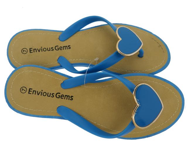 Envious Gems Women's Blue Flip Flop Sandals with Heart Charm