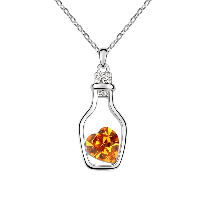 Envious Gems Glass Bottle with Topaz Heart Stone Swarovski Elements Crystal Pendant Necklace