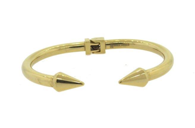 Envious Gems Gold Double Spike Hinged Bangle Bracelet