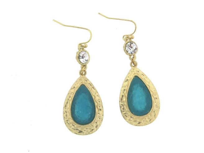 Envious Gems India Deep Aquamarine Stone Teardrop Earrings