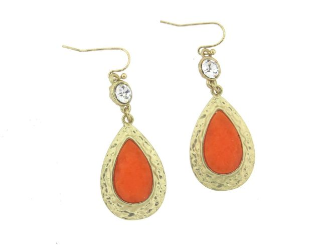 Envious Gems India Orange Blaze Stone Teardrop Earrings