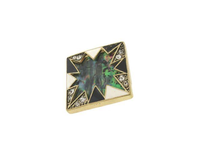 Envious Gems Large Gold Tone Enamel CZ Stretch Ring