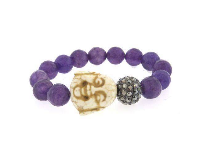 Envious Gems Monica's Amethyst Beaded Buddha Stretch Bracelet