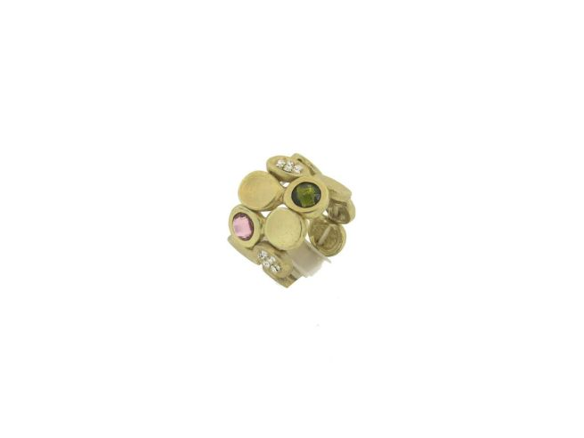 Envious Gems Multi Color Crystal Disc Stretch Ring