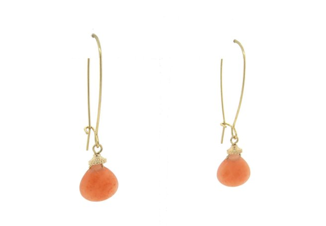 Envious Gems Orange Gemstone Wire Hoop Earrings