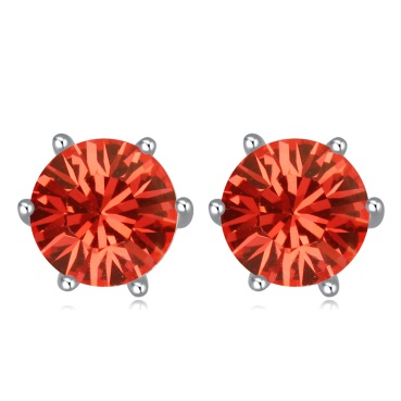 Envious Gems Padparadscha Swarovski Elements Crystal Round 7mm Stud Earrings