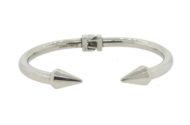 Envious Gems Silver Double Spike Hinged Bangle Bracelet