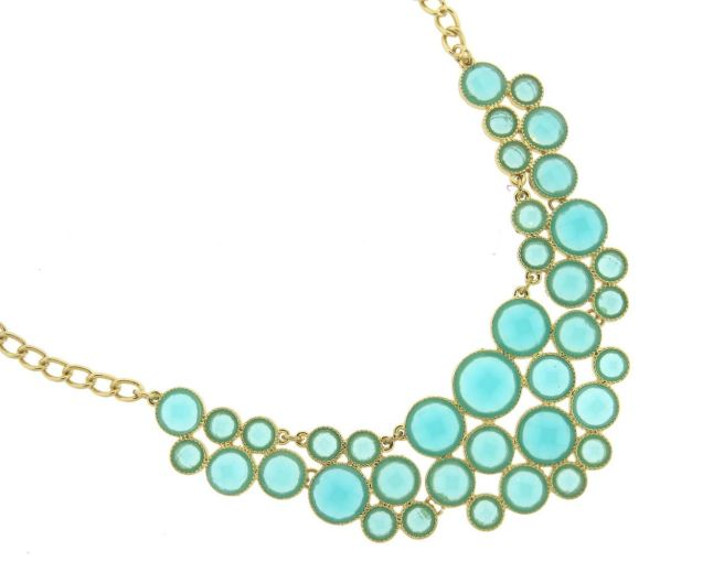 Envious Gems Sophia Aqua Quartz Bubble Bib Necklace