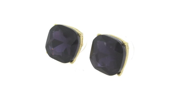Envious Gems Stunning Purple 12mm Cushion Cut Stud Earrings
