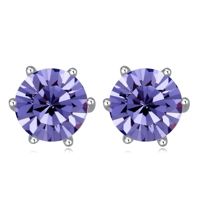 Envious Gems Tanzanite Swarovski Elements Crystal Round 7mm Stud Earrings