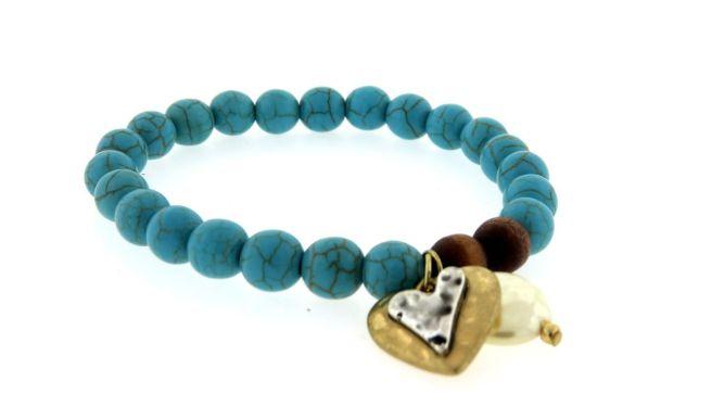 Envious Gems Turquoise beaded Two Tone Heart Charm Bracelet