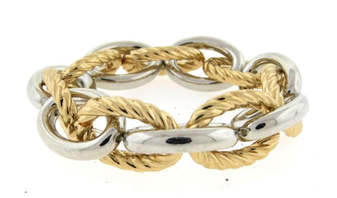 Envious Gems Two Tone Cable Link Stretch Bracelet
