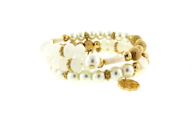 Envious Gems White Multi bead Wrap Bracelet