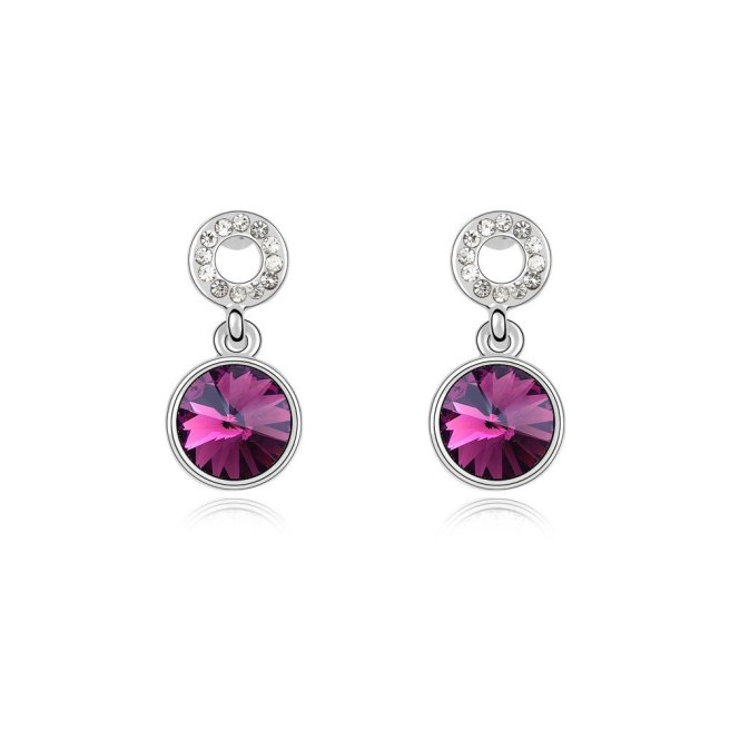 Envious Gems Amethyst Swarovski Elements Crystal Drop Earrings