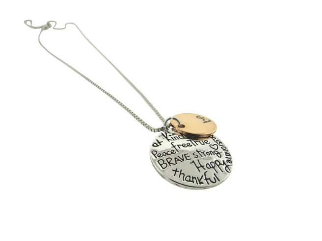 Envious Gems Be Kind Be Brave Statement Silver Plated Disc Pendant Necklace