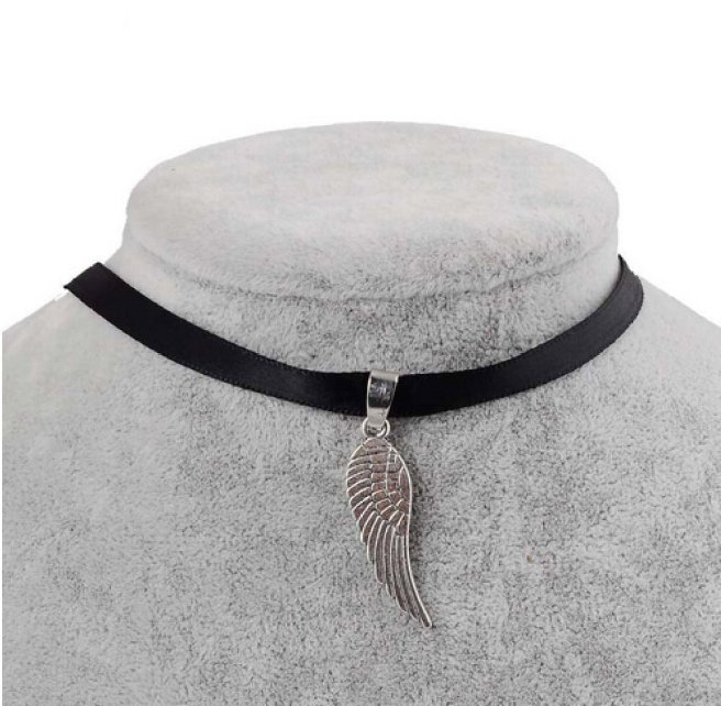 Envious Gems Black Velvet Ribbon Angel Wing Choker Necklace
