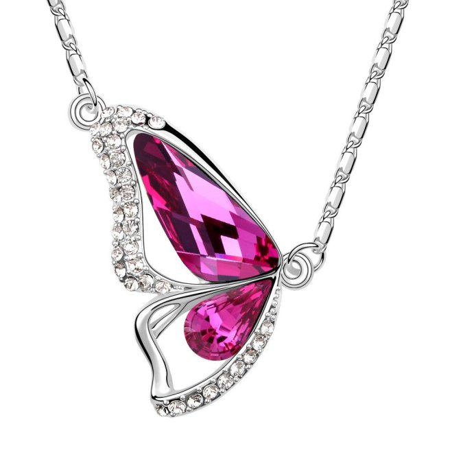 Envious Gems Butterfly Pink Tourmaline Swarovski Elements Crystal Pendant Necklace