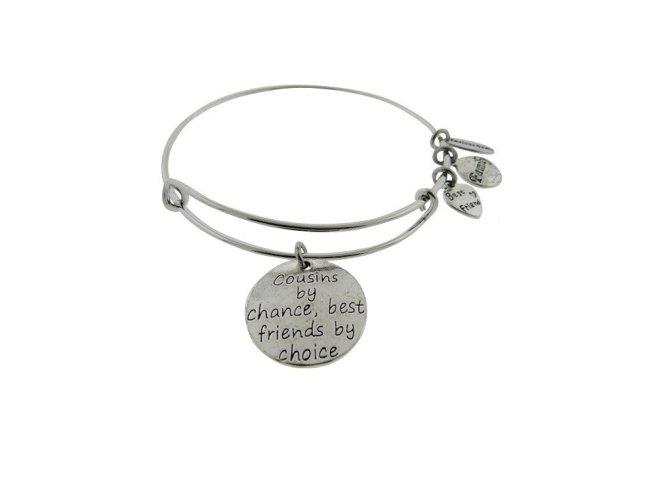Envious Gems Cousins By Chance Best Friends By Choice Silver Tone Expandable Wire Bracelet