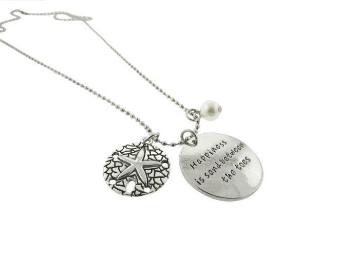 Envious Gems Happiness is Sand Between The Toes Silver Plated Disc Pendant Necklace