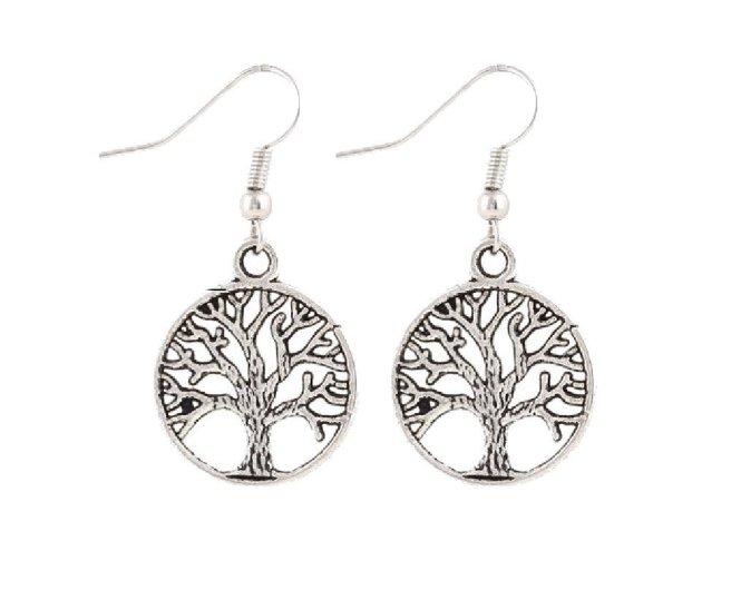 Envious Gems Tree of Life Silver Tone Earrings